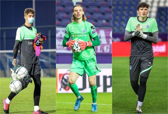 De drie tieners in doel bij Genk: Vic Chambaere, Maarten Vandevoordt en Tobe Leysen.