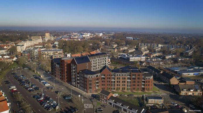 Impressie vanuit de lucht van het nieuwe Gasthuis.