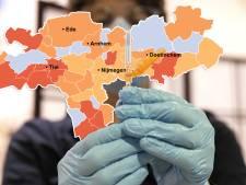 CORONAKAART | Gelderland 'oase' in coronaland door lagere of zelfs dalende besmettingscijfers