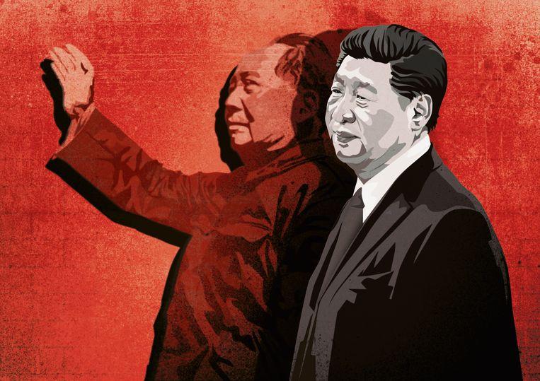 Mao (l.) en zijn verre navolger Xi. Beeld Studio Vonq