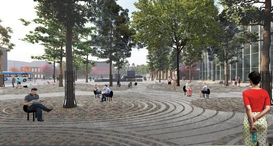 Een impressie van het Stadsforum, gezien vanaf het Paleis-Raadhuis in de richting van de Schouwburg. Kenmerkend zijn de cirkelvormige motieven in de bestrating van het plein.