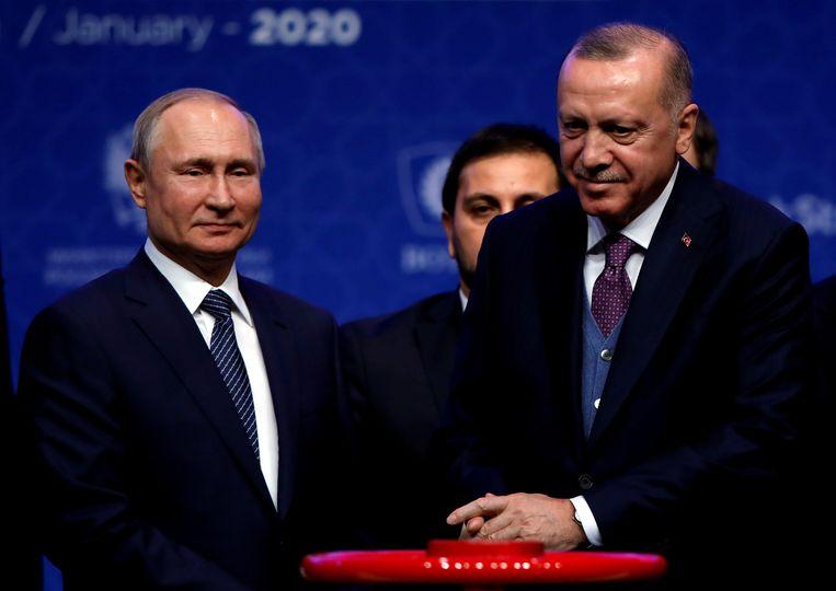 De Russische president Vladimir Poetin en zijn Turkse collega Recep Tayyip Erdogan, hier samen op archiefbeeld.