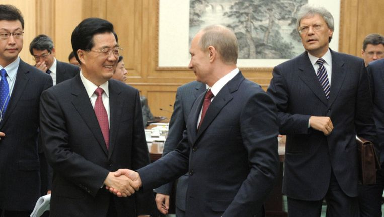 President Poetin ontmoet de Chinese president Hu Jintao. Beeld ap