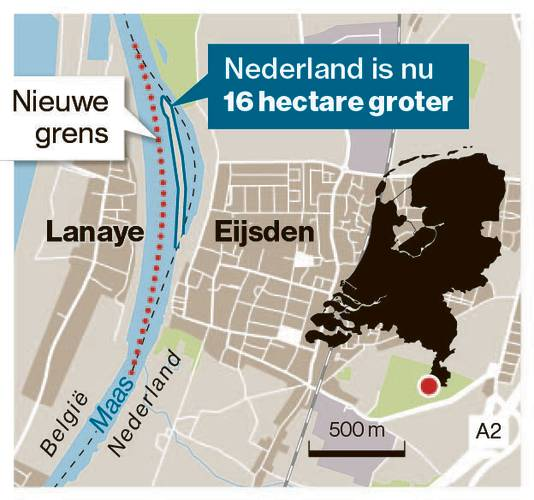 Nederland is nu 16 hectare groter