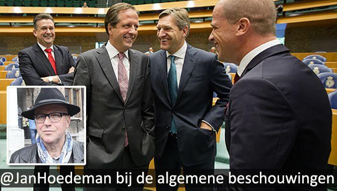 AD-verslaggever Jan Hoedeman (inzetje) doet vandaag live verslag van de Algemene Beschouwingen in de Tweede Kamer in Den Haag. Op de archieffoto staan van links naar rechts de fractievoorzitters van de SP (Roemer), D66 (Pechtold), het CDA (Buma) en de PvdA (Samsom) in de Tweede Kamer.