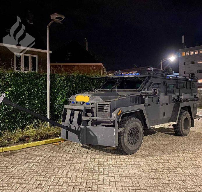 De bearcat, een pantservoertuig, die werd gebruikt bij de inval in Den Bosch.