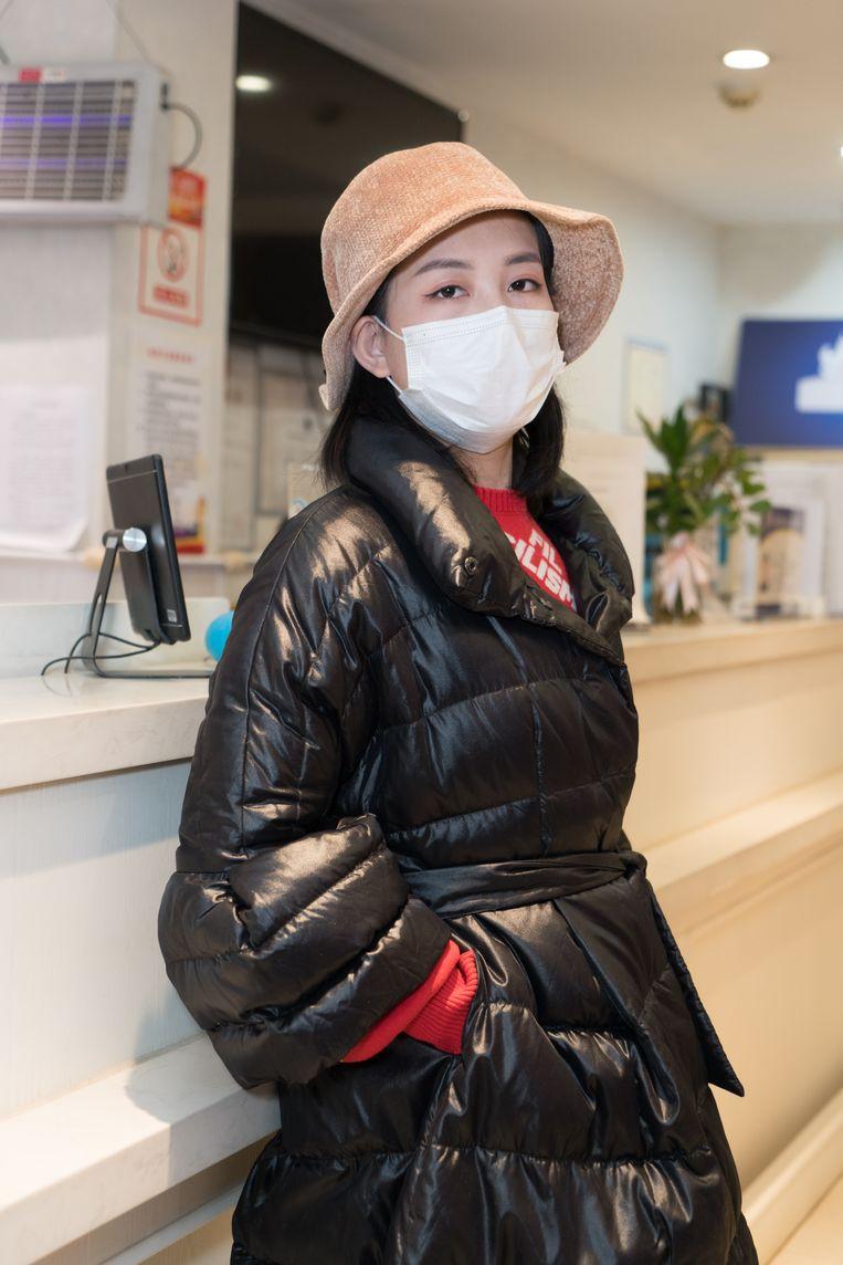 Xiao Yaxing (27) in de lobby van haar hotel. Beeld Ruben Lundgren