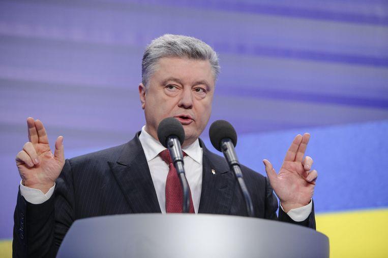 De Oekraïense president Petro Poroshenko tijdens een persconferentie. In het oosten van Oekraïne zijn al lange tijd gevechten tussen het Oekraïense leger en separatistische opstandelingen. Die worden gesteund door Rusland, hoewel Moskou dat ontkent. Beeld Photo News