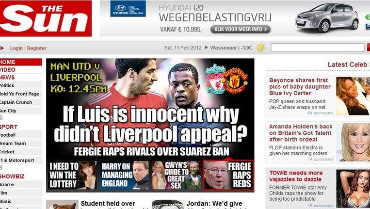 Screenshot van de site van The Sun. Beeld