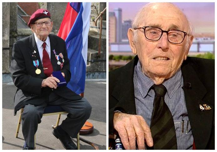 Links: veteraan Sam Kendrick werd geëerd door de Nederlandse ambassadeur in Ierland. Rechts: veteraan Victor Gregg te gast bij BBC Breakfast. Beide veteranen overleden deze week.