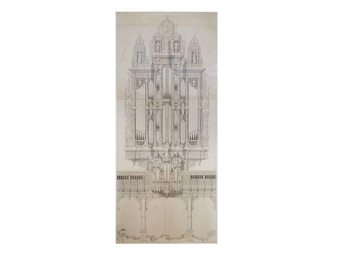 De pentekening van het groot orgel.