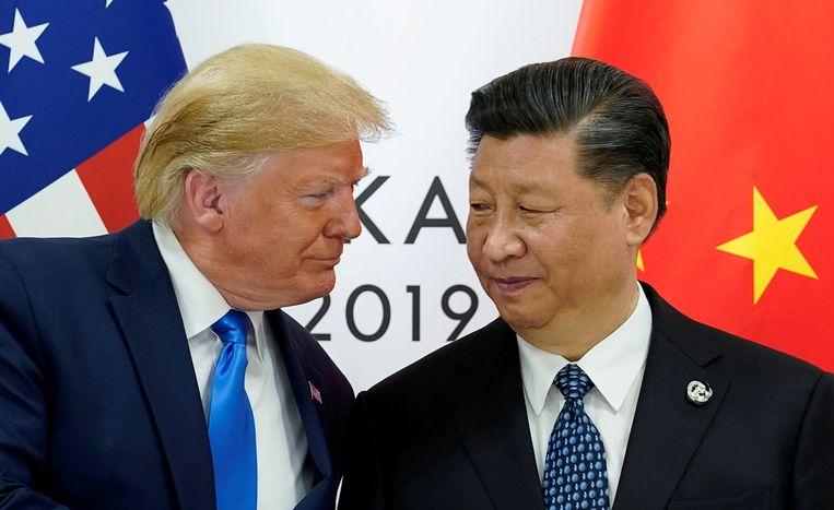 De Amerikaanse president Donald Trump met zijn Chinese collega Xi Jinping tijdens hun ontmoeting van afgelopen zomer.