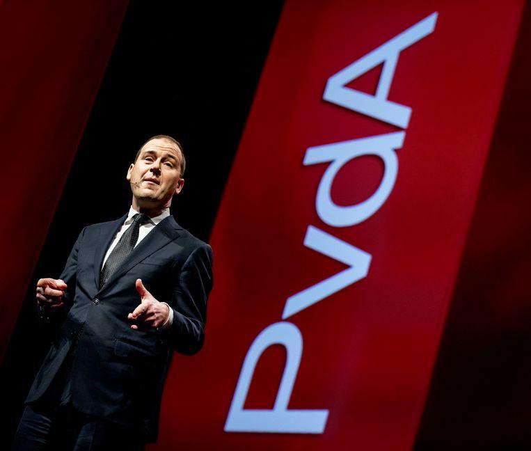 Politiek leider Lodewijk Asscher houdt een toespraak tijdens het jaarlijkse partijcongres van de PvdA.  Beeld ANP