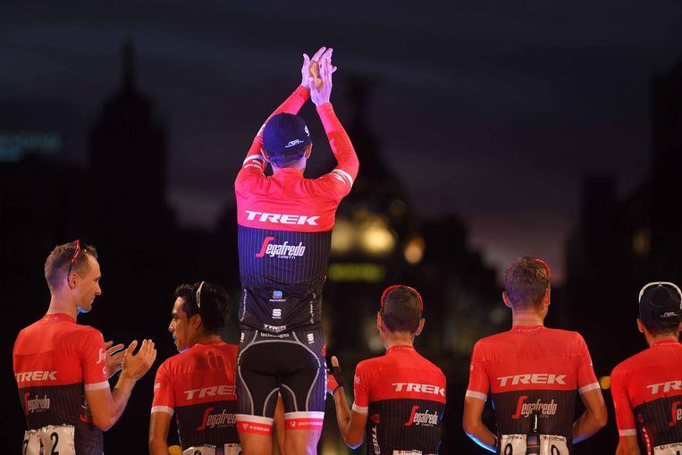 Cycling: 72nd Tour of Spain 2017 / Stage 21 Podium / Alberto CONTADOR (ESP) Last Race / Retirement /  Team Trek - Segafredo (USA)/ Celebration /  Arroyomolinos - Madrid (117,6km) / La Vuelta / © Tim De Waele Beeld TDW