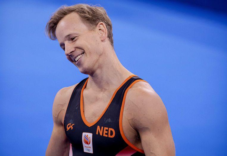 Rekstokspecialist Epke Zonderland  tijdens de kwalificatiewedstrijd turnen mannen van afgelopen zaterdag op de Olympische Spelen. De Nederlander wist zich niet te plaatsen voor de finale. Beeld ANP