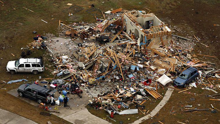 Vernietiging door de tornado in Dallas, Texas. Beeld ap