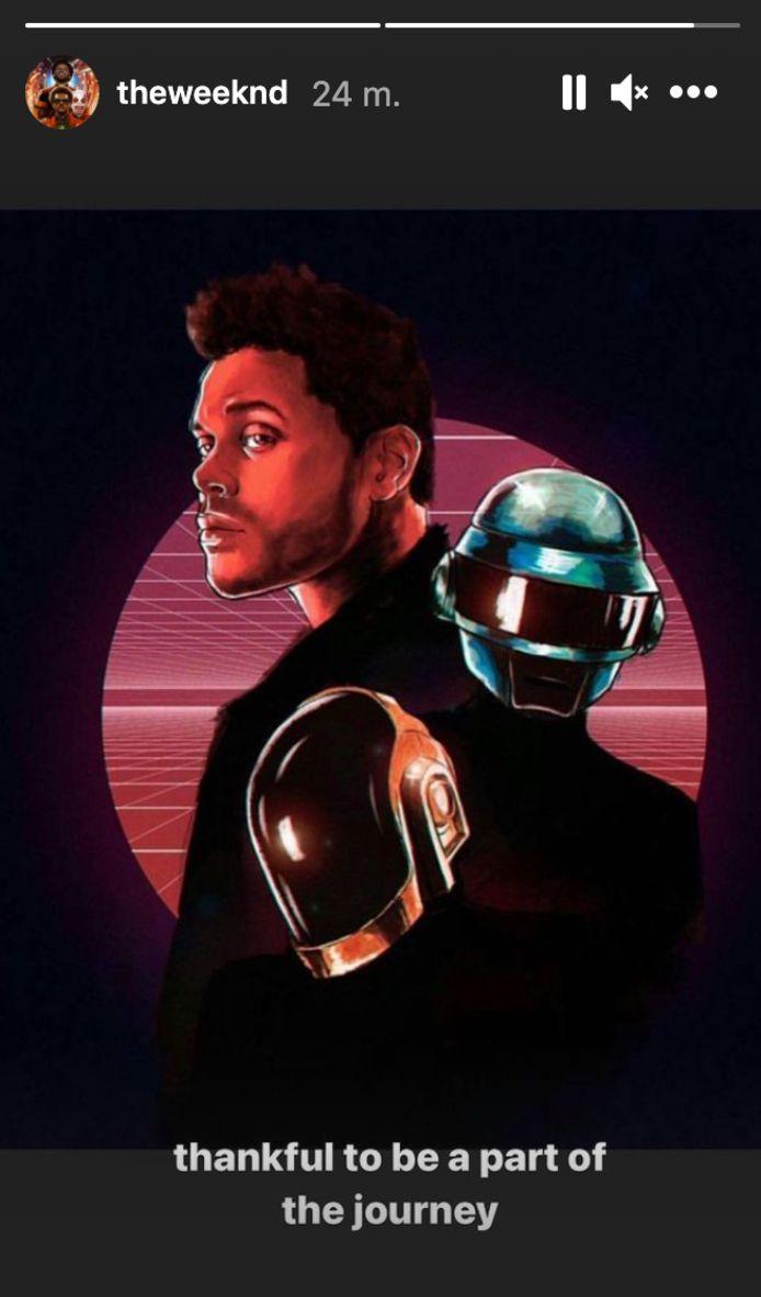 The Weeknd bedankt Daft Punk in z'n Instagram Stories.