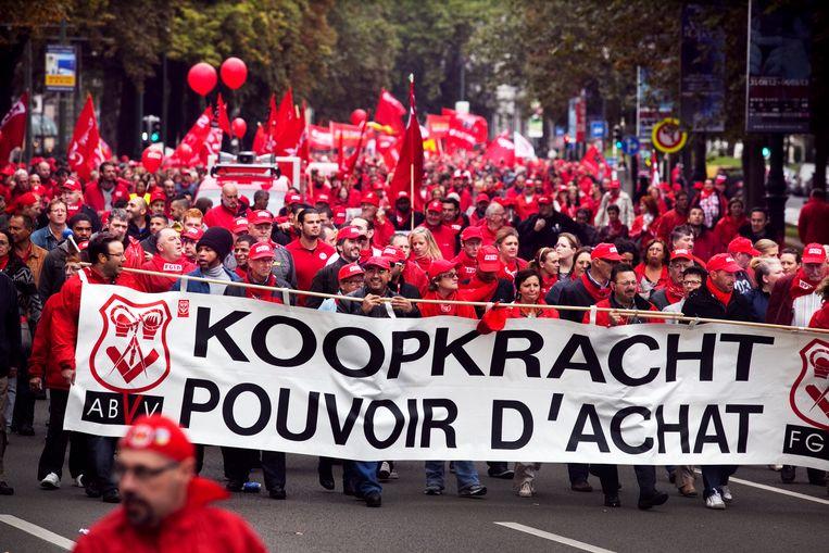 Een betoging van het ABVV voor meer koopkracht. Beeld Tim Dirven