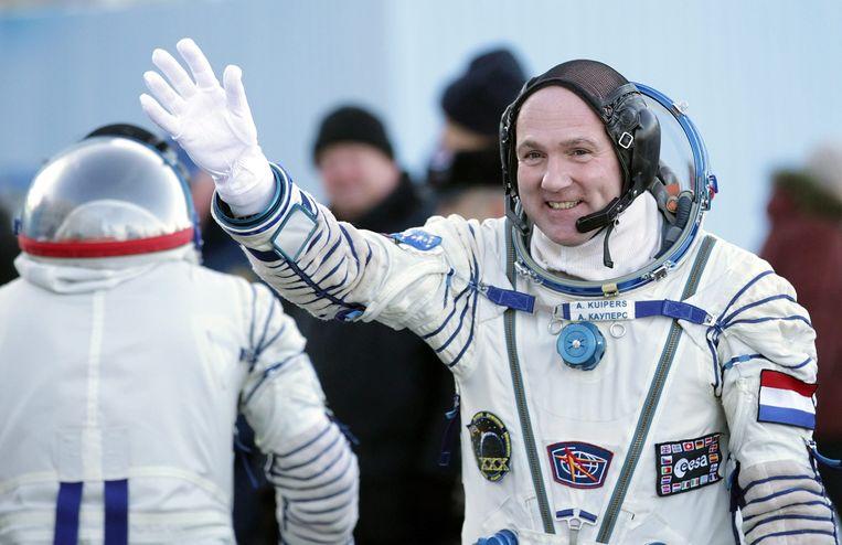 Andre Kuipers bij de lancering van de Soyuz in Kazakhstan. Beeld epa