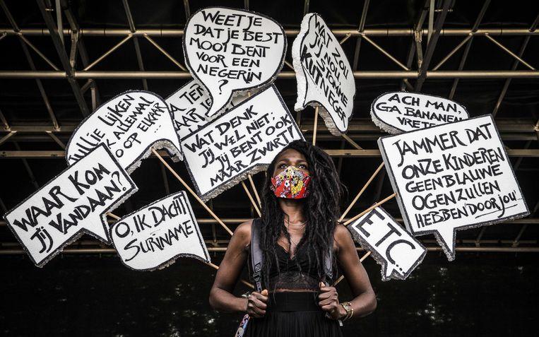 Een vrouw speecht op een Black Lives Matterprotest in Leeuwarden. Beeld ANP