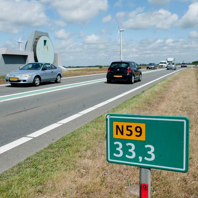 De N59 richting Middelharnis.