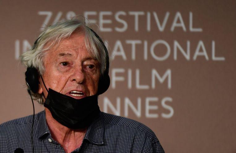 Paul Verhoeven bij de persconferentie voor zijn film Benedetta tijdens het 74ste Filmfestival van Cannes in juli van dit jaar. Beeld EPA