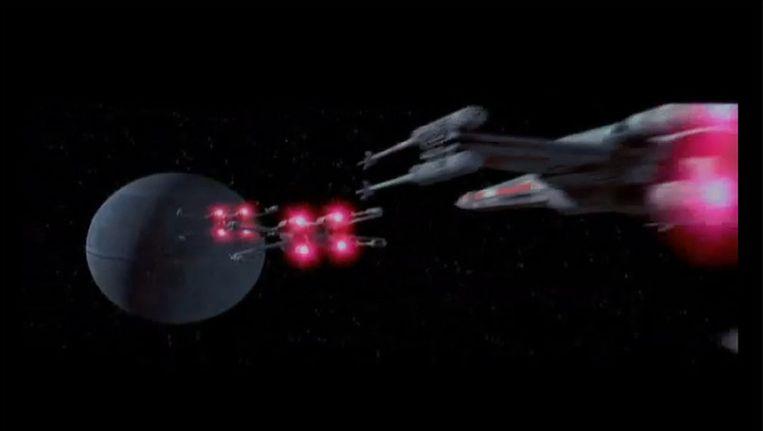 De Death Star in een beroemde scène uit Star Wars. (screenshot) Beeld