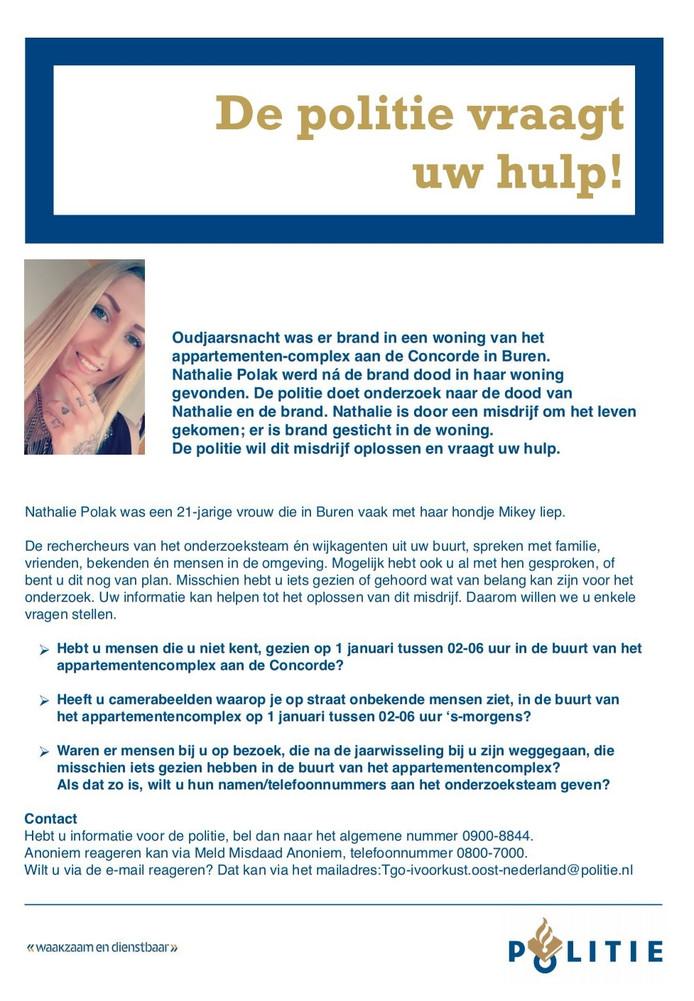 Flyer verspreid in Buren naar aanleiding van de moord op Nathalie Polak in Buren.