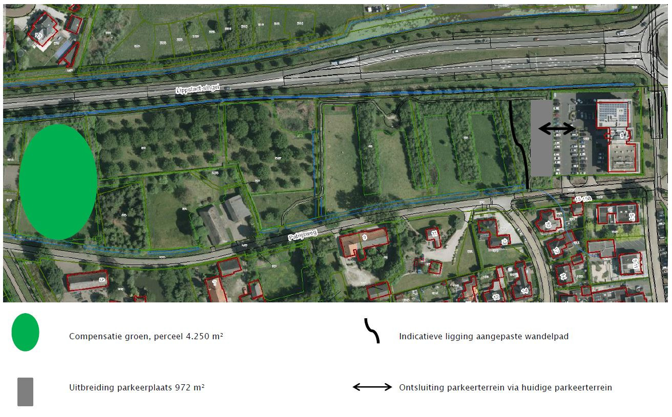 Rechts het gebouw van CSU en het stuk Klimaatbos dat verdwijnt, links het stuk nieuwe natuur.