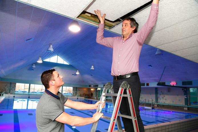 Henk Reints (op de trap ) en beheerder Niek Sportel met een van de op 13 december gevallen plafondplaten in zwembad De Kiefer. De houten lat aan de rand werd vastgeschroefd.