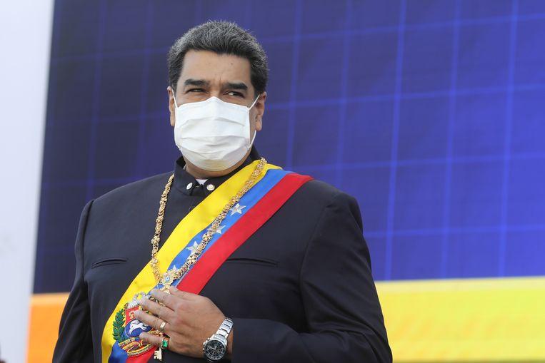 Nicolas Maduro tijdens de viering van de onafhankelijkheid van Venezuela op 5 juli. Beeld EPA