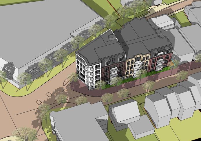 Illustratie van het nieuwe appartementencomplex op de kop van de Molenstraat.