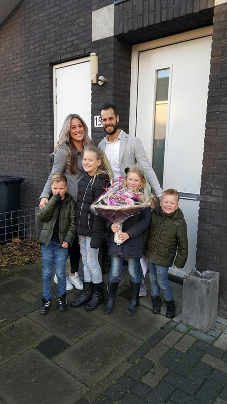 Lisa Stegeman en haar samengestelde gezin.  Beeld Werry Crone