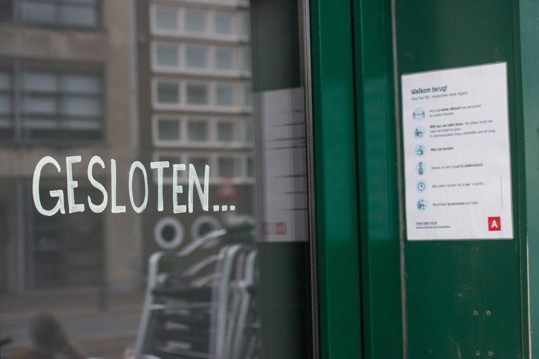 Een gesloten horecagelegenheid in Antwerpen.  Beeld ANP