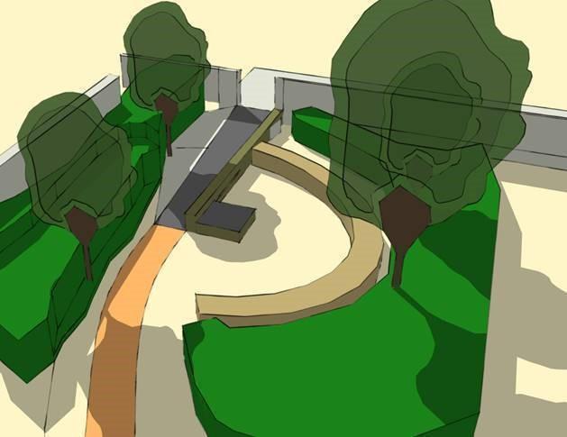 Illustratie van hoe het park er zou gaan uitzien na de inrichting.
