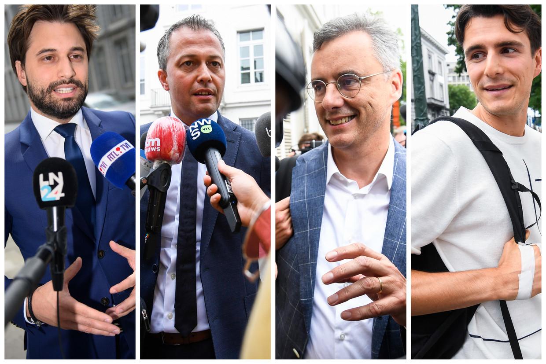 Voorzitters Georges-Louis Bouchez (MR), Egbert Lachaert (Open Vld), Joachim Coens (CD&V) en Conner Rousseau (sp.a).  Beeld Belga, Photo News