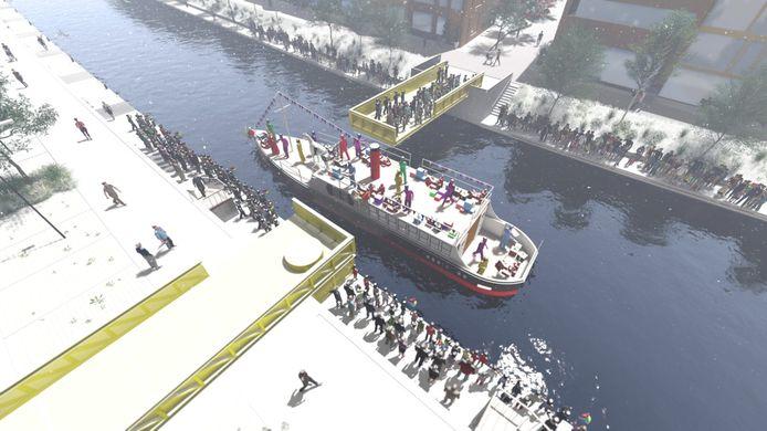 Als de brug open gaat, rolt ie bijna twintig meter de kade op. Zo kan Sinterklaas gewoon met zijn boot Roosendaal binnenvaren met de intocht.