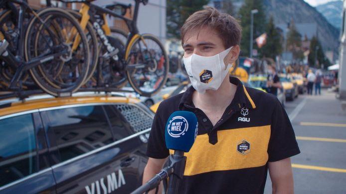 Tom Dumoulin na zijn vijfde plek in de tweede tijdrit van de Ronde van Zwitserland.