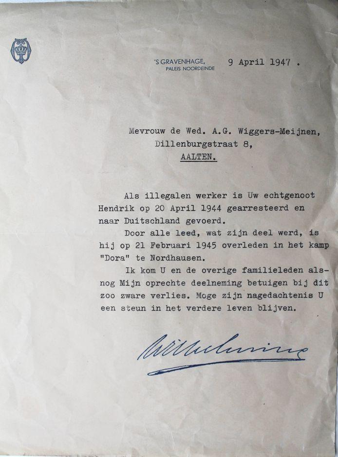 De brief met de boodschap dat Hendrik Wiggers is overleden in het concentratiekamp.