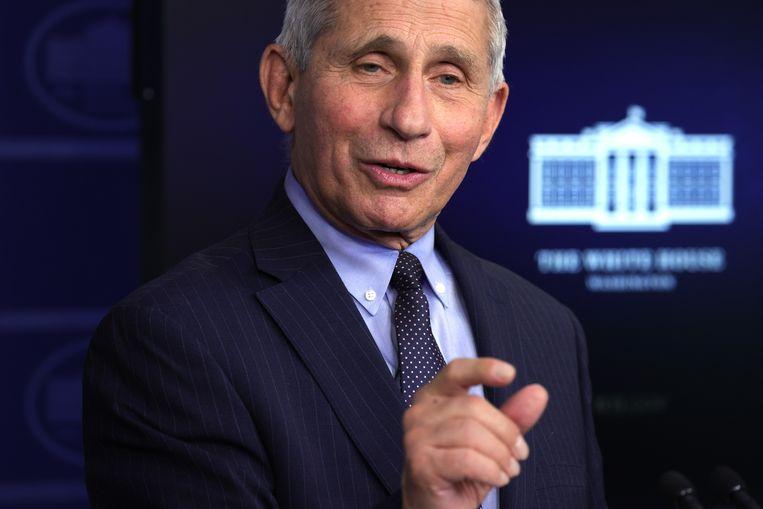 Anthony Fauci tijdens de persbriefing in het Witte Huis gisteren. Beeld Getty Images