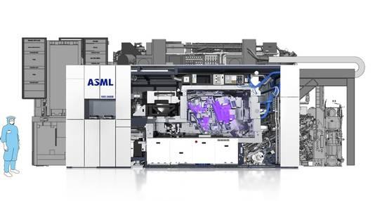Het ontwerp van de EUV High NA machine (achtergrond) afgezet tegen een EUV machine.