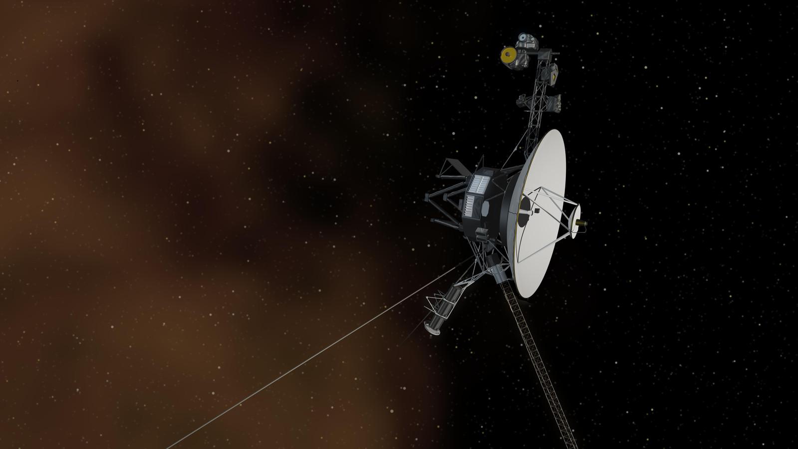 Een artist's impression van de sonde Voyager 1.
