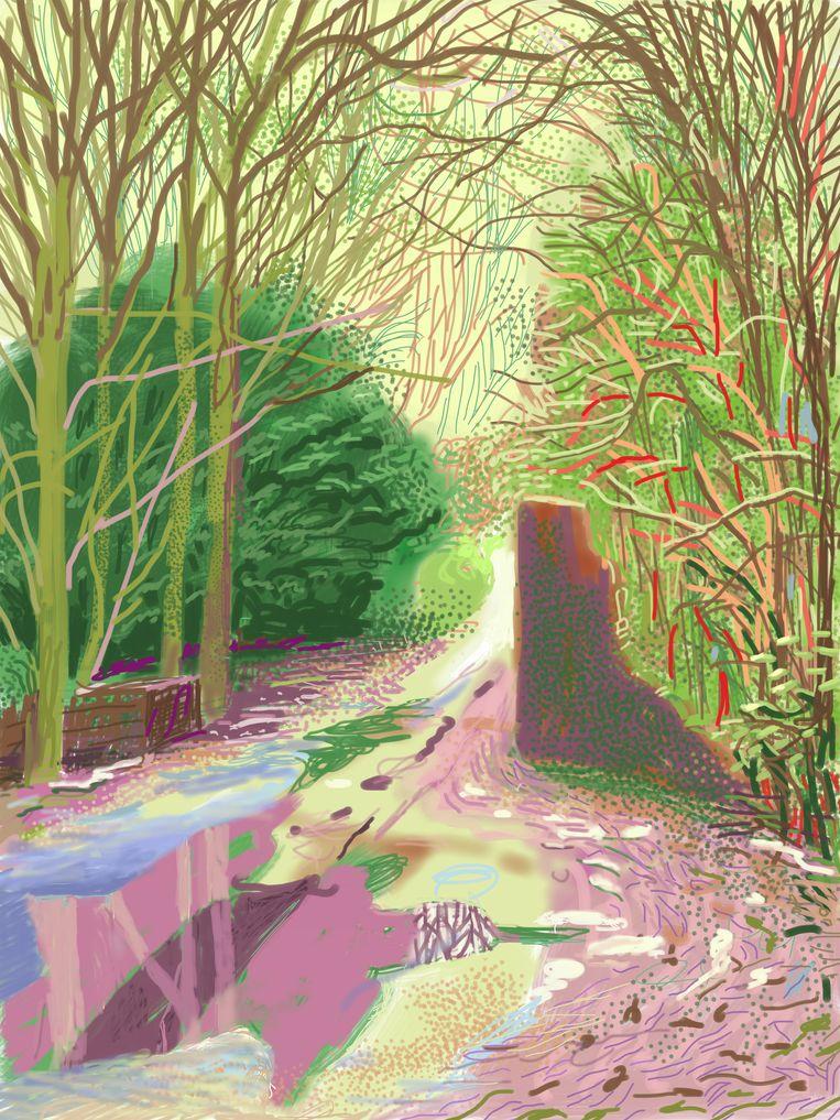 Een iPad-tekening van David Hockney uit de 'The Arrival of Spring in Woldgate, East Yorkshire in 2011'-reeks. Beeld David Hockney