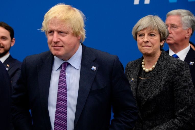 Boris Johnson en Theresa May. Beeld AFP