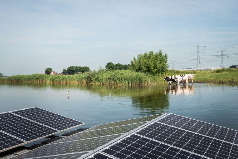 Drijvend zonnepark bij een zandgroeve in de buurt van Zwolle. Beeld Simon Lenskens