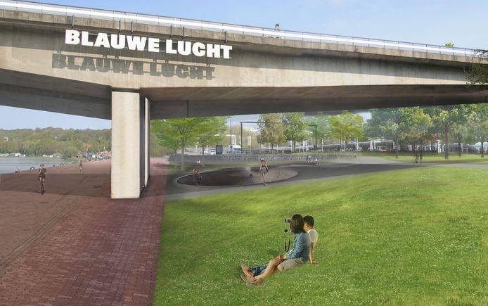 Impressie van de Rijnkade/Boterdijk onder de Nelson Mandelabrug na de herinrichting.