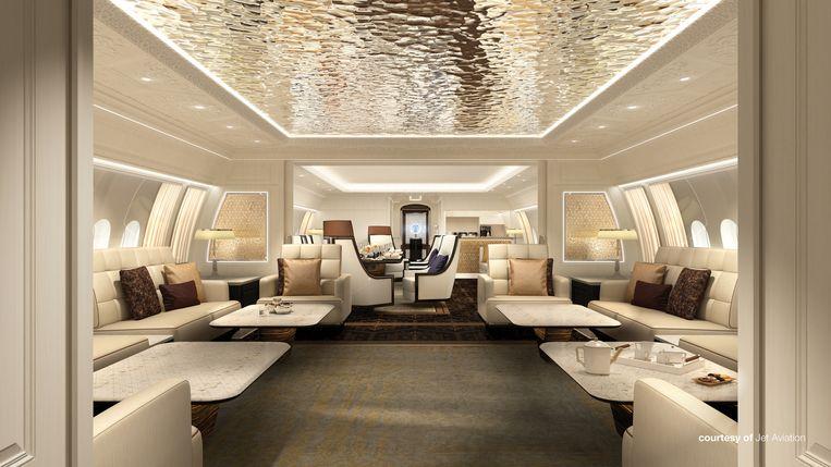 Interieurontwerpen voor de Boeing Business Jet 777X door Jet Aviation.  Beeld Jet Aviation
