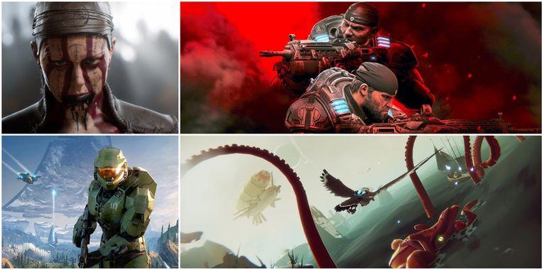 Beelden van de games die al zijn verschenen of nog moeten verschijnen (vanaf linksboven met de klok mee: Senua's Saga, Gears 5, The Falconeer en Halo Infinite. Beeld Microsoft