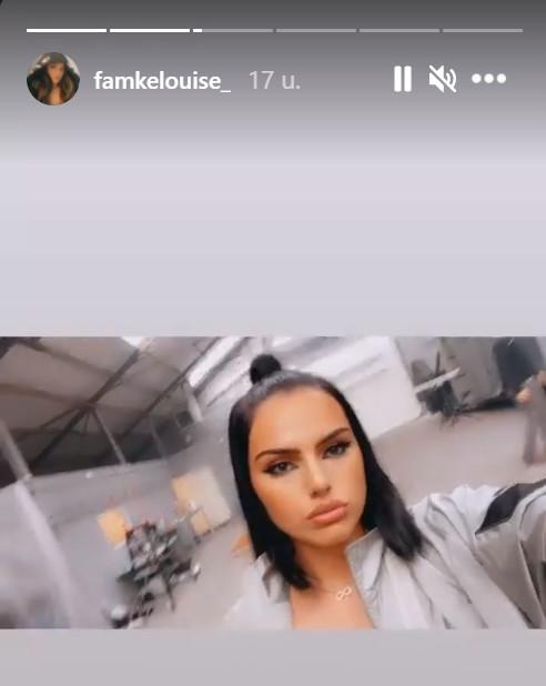 Famke Louise bij de opname van haar clip