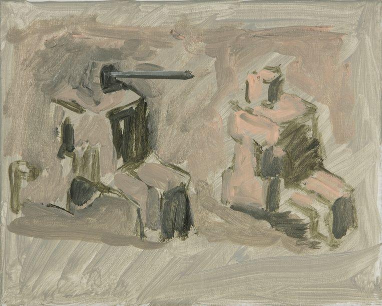 Werk van Marc Vanderleenen. Oil on canvas, 30 x 24 cm, 3.000 euro. Beeld Annie Gentils Gallery
